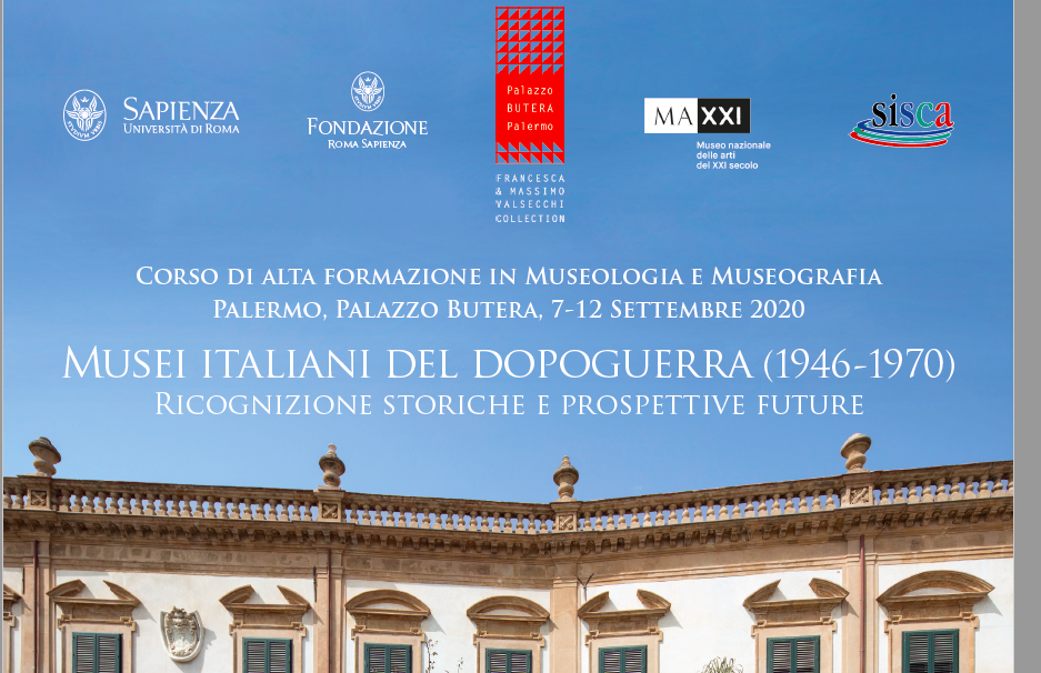 Corso di alta formazione in Museologia e Museografia – Sapienza Università di Roma – a Palermo dal 7 al 12 settembre_domande entro il 30 Maggio