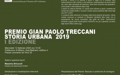 PREMIO Gian Paolo Treccani – STORIA URBANA 2019_Premiazione il 12 Febbraio a Milano