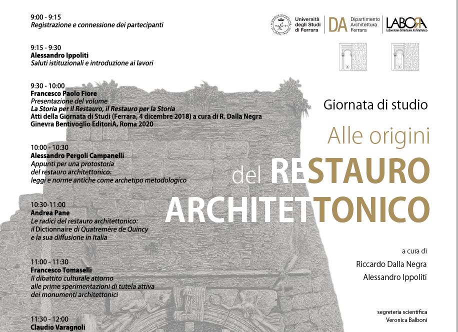 """Giornata di Studi """"Alle origini del restauro architettonico"""" – 26 marzo 2021 – Università di Ferrara"""