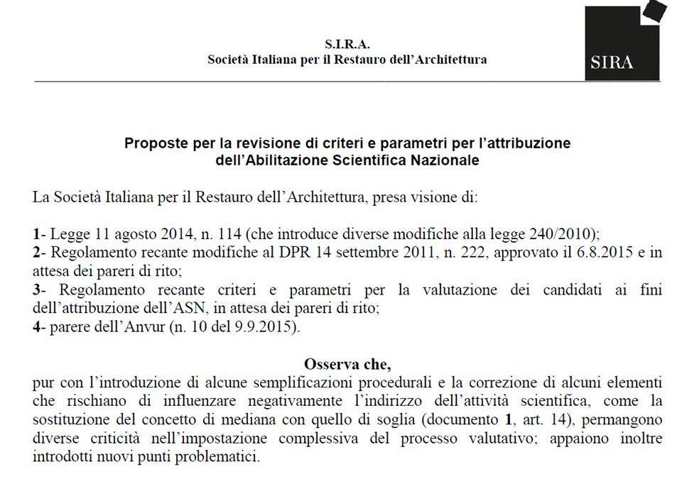 Proposte per la revisione di criteri e parametri ASN