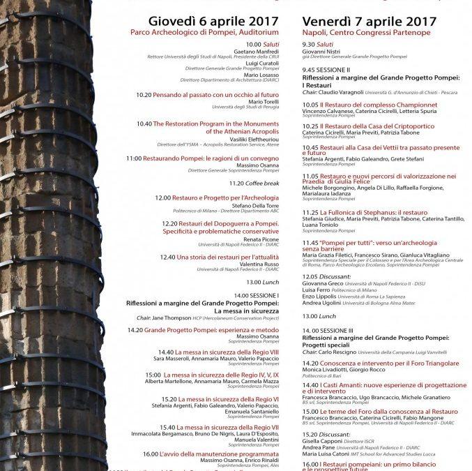 RESTAURANDO POMPEI – Giornate di Studio Internazionali il 6 e il 7 aprile